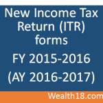Income Tax Return ITR forms for FY 2015-2016 (AY 2016-2017)