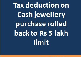 Tax deduction (TCS) threshold for cash purchase of gold jewellery rolled back