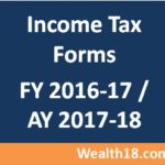 Income Tax Return ITR forms for FY 2016-2017 (AY 2017-2018)